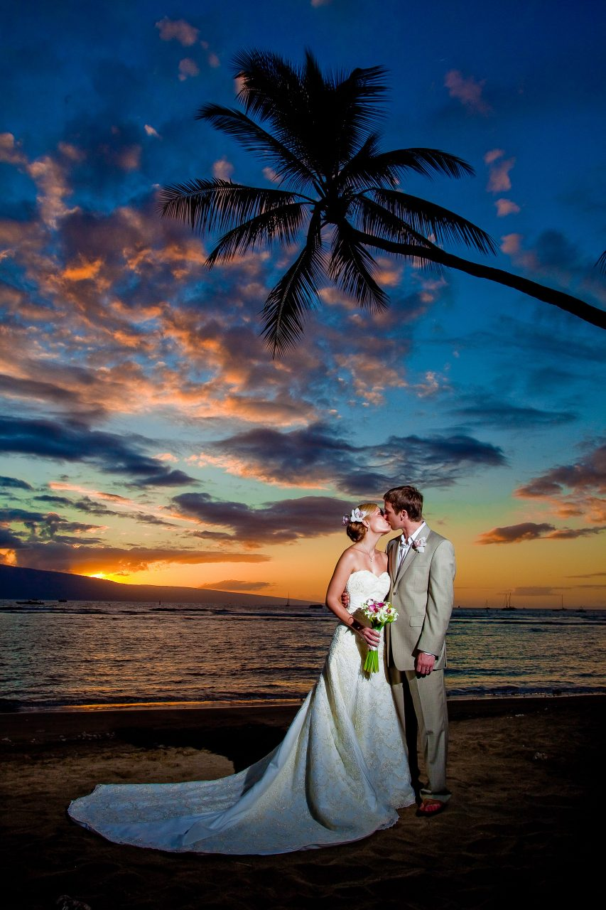 bride and groom on Maui beach
