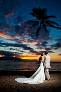 bride and groom beach photo at sunset