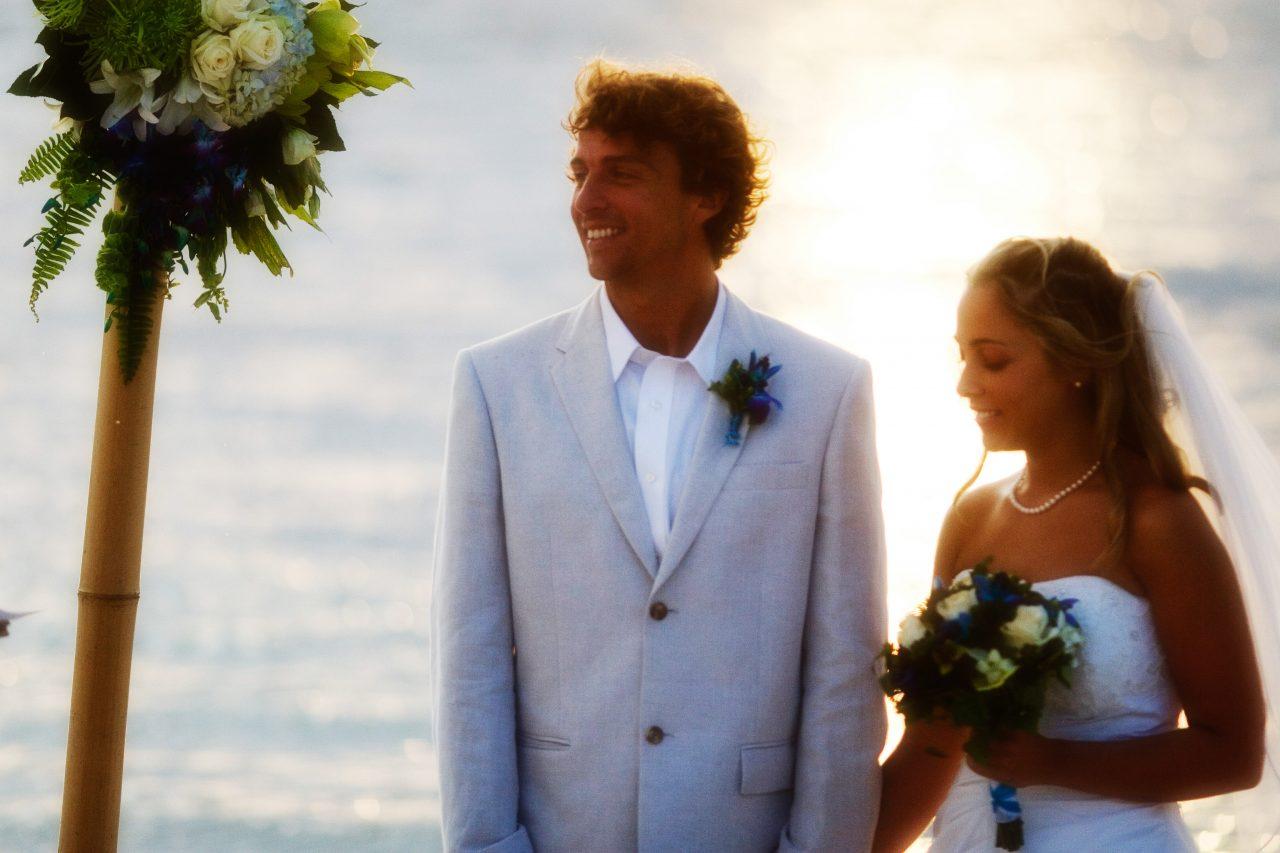 bridge and groom maui beach wedding