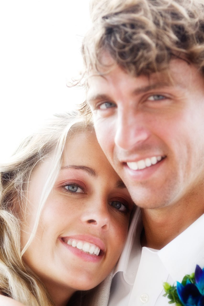 close up of bride and groom faces
