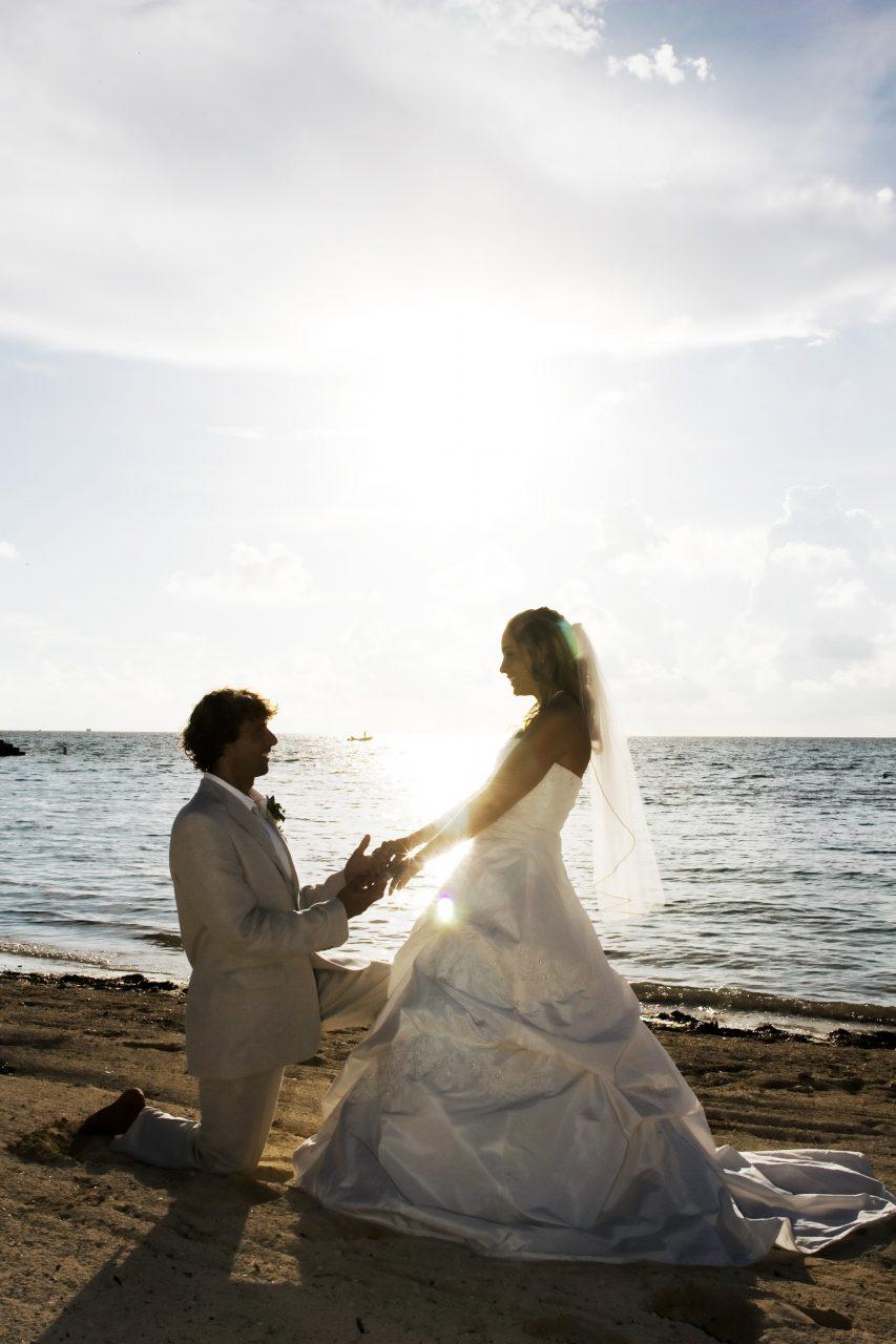 bride and groom portraits on beach