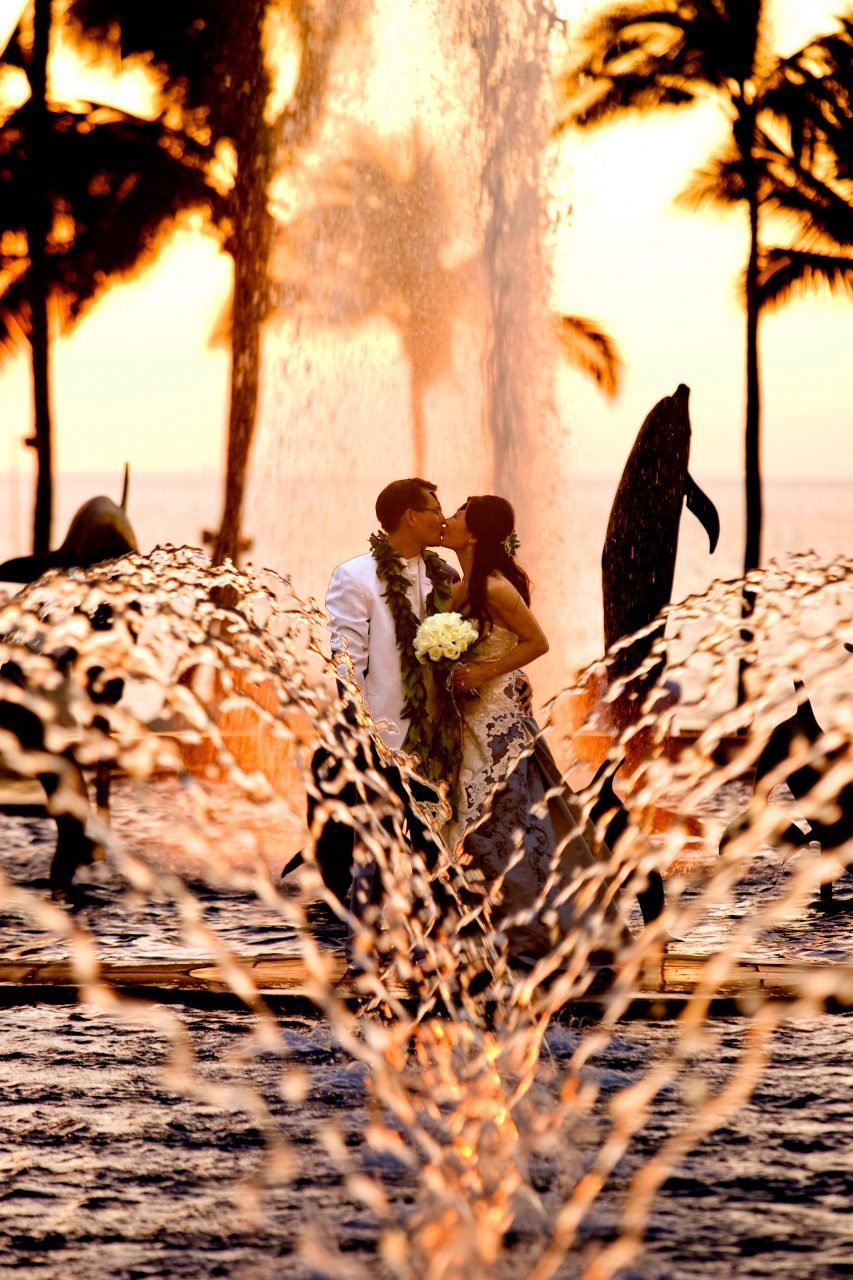 Maui Bride and Groom by Fountain