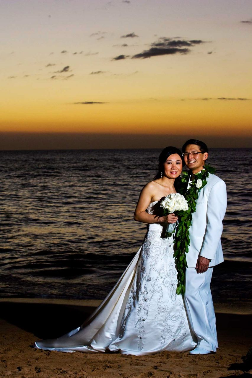 Bride and Groom on the Beach Sunset