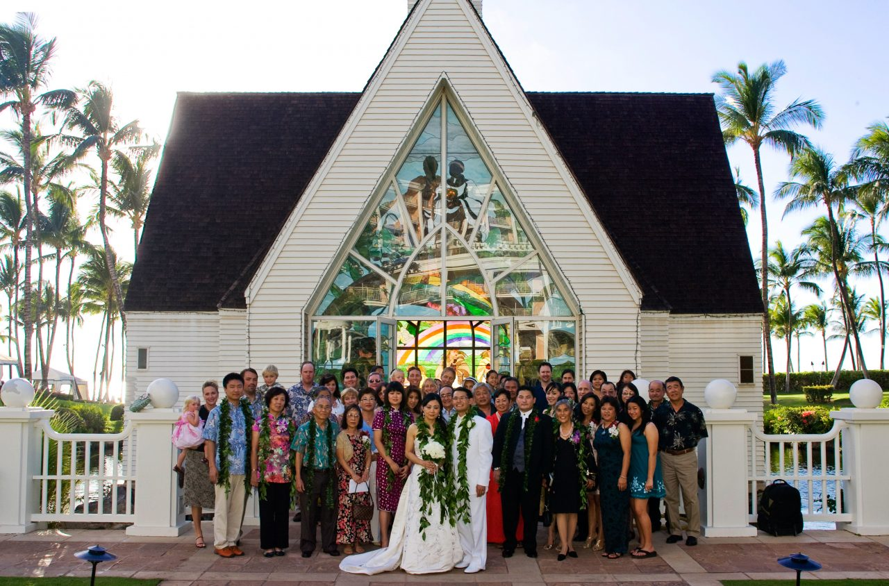 Family Photo after Wedding outside Church