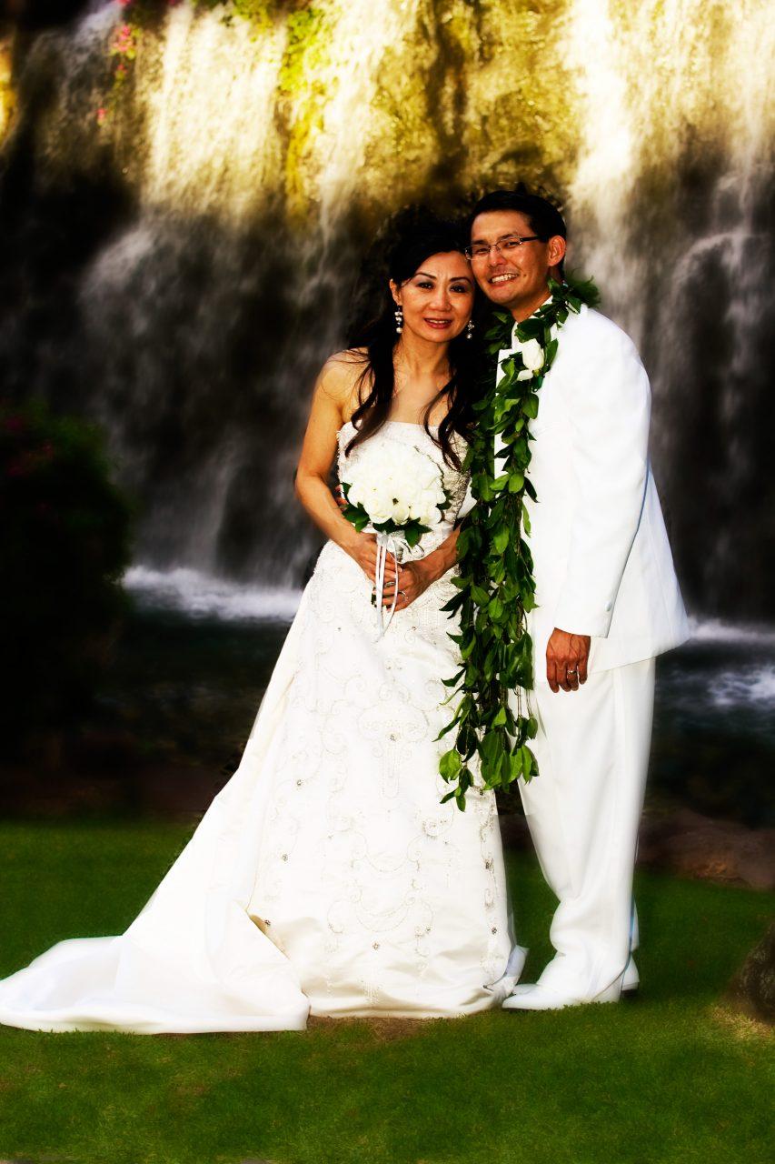 Bride and Groom at Maui Waterfalls